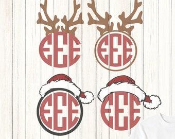 Santa Hat and Antler Monogram Reindeer Frame  SVG EPS Png DXF, Cricut Design Space, Silhouette Studio, Digital Cut Files layered