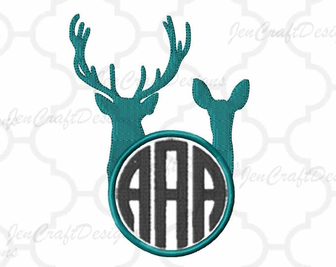 Buck and Doe Embroidery Design Monogram Frame, Antlers, Buck, Hunting,Instant Download digital file in PES, EXP, VIP, Hus, Xxx, Jef