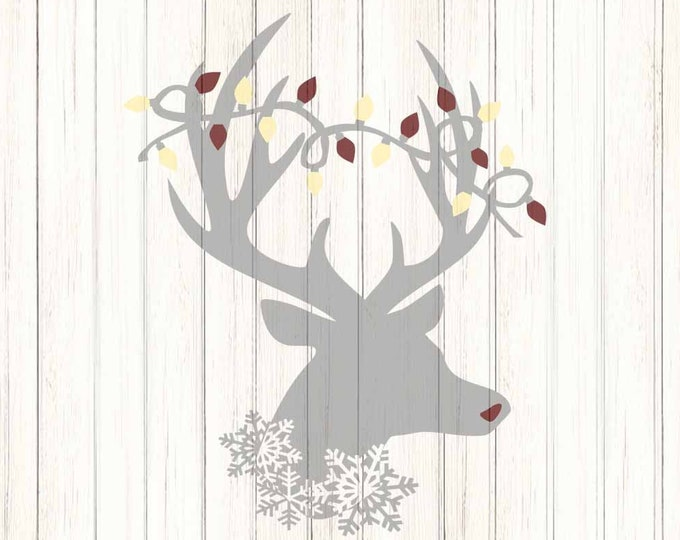 Reindeer Christmas Lights Snowflake SVG,EPS Png DXF,digital download files for Silhouette Cricut, Clip Art graphics Vinyl Cutting Machines