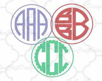 Round Monogram Alphabet SVG Bundle, Scalloped Round Monogram svg, Monogram font, Split Monogram SVG, Eps, Dxf Cricut, Silhouette