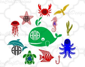 Sea Life Monogram Frames SVG Ocean Sea Life Seashell Starfish Octopus Nautical Seahorse Ocean Svg,Dxf,Eps,png Cricut Silhouette