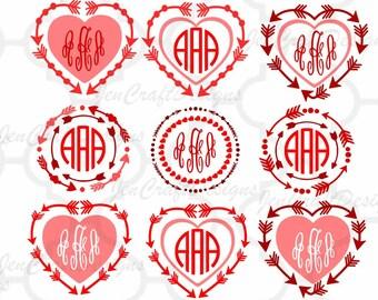 Valentines SVG - Arrow Heart Monogram Frames SVG Bundle SVG Eps Png Dxf, Cricut Silhouette Digital Cut Files Instant Download