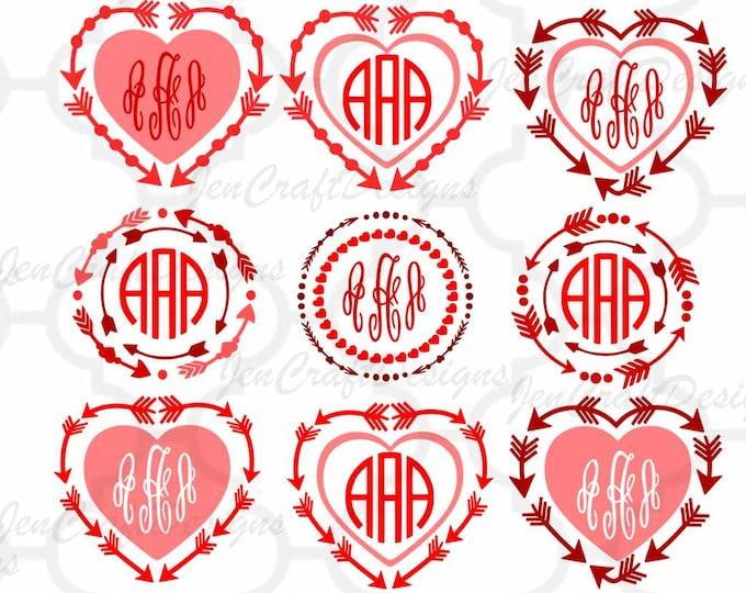 Arrow Heart Monogram Frames SVG Set, valentines SVG Eps Png Dxf,  Valentine Cricut DS Silhouette Studio, Digital Cut Files Instant Download