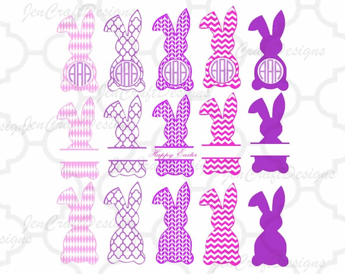 Easter Bunny Monogram Frames Svg, Easter Monogram Frames, Easter Split Monogram Easter SVG,EPS,Dxf,digital  download files Silhouette Cricut