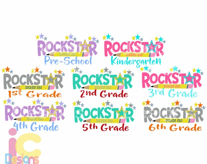School svg Rock Star Rock into Prek-6th Svg Back to School design, Student Teacher SVG EPS DXF Png Silhouette Cricut Vector Art Cut File