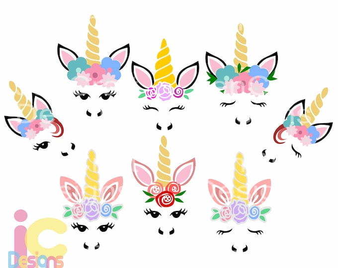 Unicorn svg, Unicorn face svg bundle, Gold Horn unicorn, Floral Unicorn Head Features eyelashes, SVG, DXF, Eps, Png Cricut, Silhouette