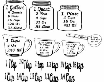 Kitchen SVG, Conversion Chart svg, Kitchen Measuring Cheat Sheet svg measurement Conversion Chart Cups svg file for cricut silhouette
