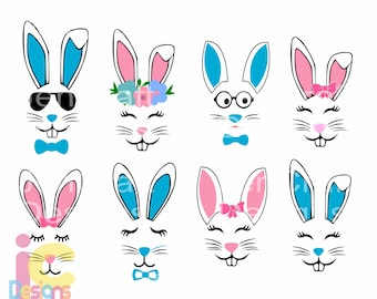 Bunny Svg, Easter Svg, Boy Girl Cute Easter Bunny Svg, Rabbit Cut File Bunny face Svg, cut Files Cricut Svg, Eps, Dxf, Png Silhouette Cricut