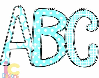Teal Doodle Letters Alphabet png, Hand Drawn Alpha Pack Digital Download, Printable School Spirit Kids Cute individual letters Bundle 12""