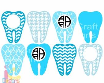 Tooth SVG Dental Dentist Hygienist Monogram Frame Bundle Svg Cuttable Design Cut File in SVG EPS Png DFxf Cricut Silhouette Instant Download