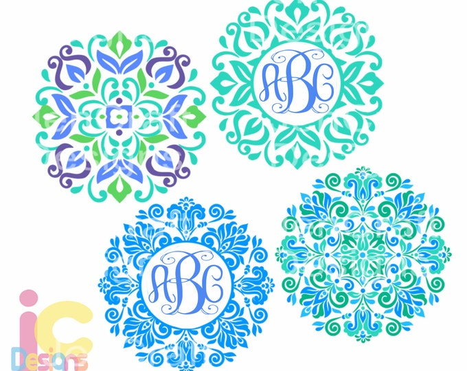 Mandala monogram svg, Floral Pattern Frame Boho svg Spring Frames svg dxf eps svg png Sublimation, cricut cut file