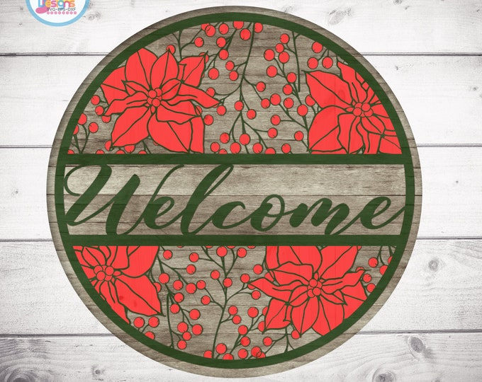 Christmas laser cut Welcome sign svg Cut File, Poinsettia svg laser cut files Glowforge, Cricut, Silhouette SVG, Eps, DXF, Png