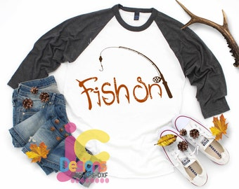 Fishing SVG Fish On Fishing Pol Fish Digital Design Fathers Day Sublimation Cut File Silhouette Cricut, Die Cut Machines. Svg, Dxf, Eps, Png
