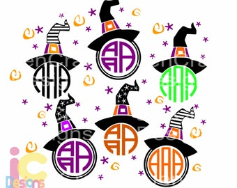 Halloween svg, Witch Hat SVG Monogram Frame, Halloween Designs, SVG, EPS, Dxf, Png Files, Vector Art, Cricut Design Space, Silhouette