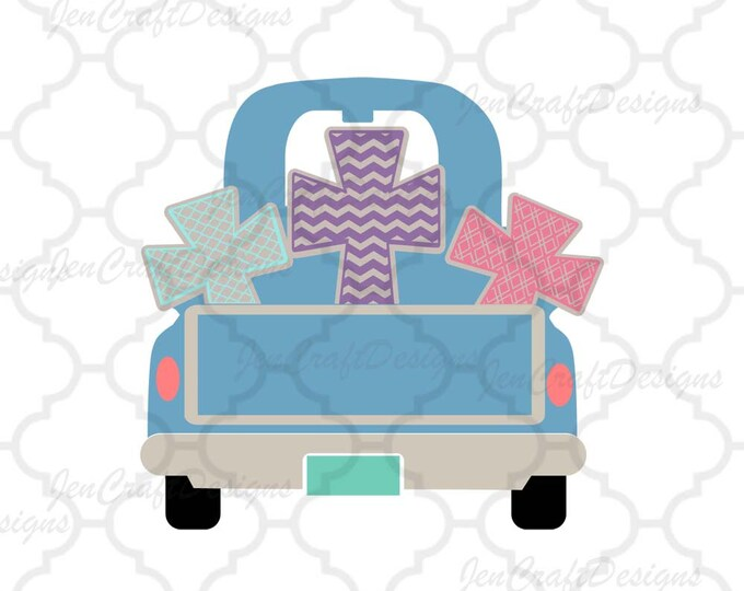 Christian Cross Vintage Truck SVG EPS Png DXF, Monogram Frame Cricut Design Space, Silhouette Studio, Digital Cut Files Instant download