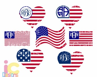 American flag monogram frames, 4th of July svg, Memorial Day Cricut   Silhouette, Die Cut Machines. Svg, Dxf, Eps, Png, Ai, Jpg