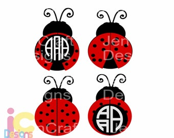Ladybug SVG, Lady Bug Monogram SVG, Summer Mothers day beetle svg, cut files, svg, dxf, ai, eps, png Instant download, love bug