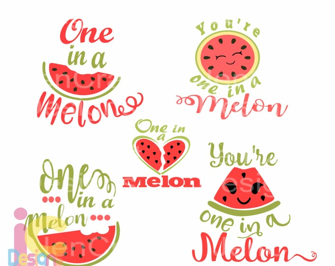 Summer Watermelon svg, One in a Melon SVG, Summer Svg, Cute Kids  print, sublimation SVG, Dxf, Eps, Png Clipart digitalArt Cricut Silhouette