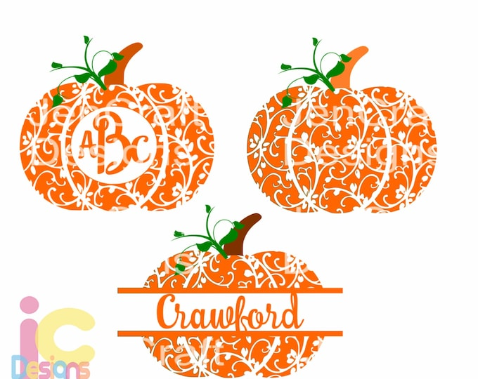 Pumpkin svg monogram Frame cutting files. Floral pattern, Silhouette and Cricut. SVG, DXF, EPS,Png, Pdf Halloween Thanksgiving