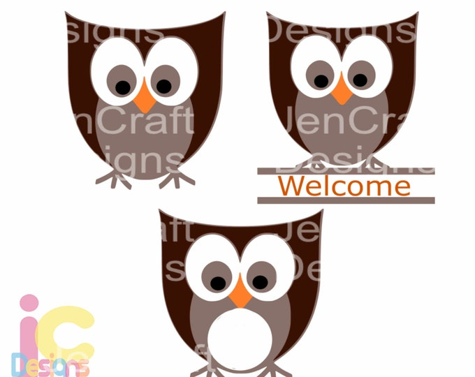 Cute Owl SVG Monogram Frame Svg Kids Mom Kitchen Country Cut Files, svg, dxf, eps, png cut files, Instant download Silhouette Cricut