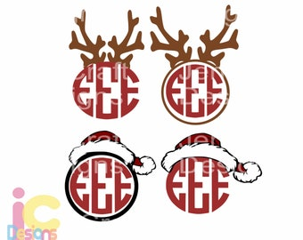 Christmas svg Santa Hat and Antler Monogram Reindeer Frame  SVG EPS Png DXF, Cricut, Silhouette Studio, Digital Cut Files layered