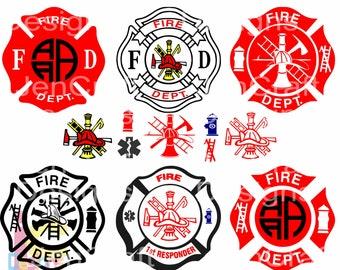 Fireman SVG, Firefighter svg EMT Svg, Emergency first responder Fire  badge Designs SVG Eps Dxf cut file, Printable Png, Cricut Silhouette