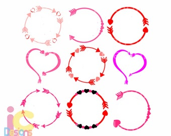 valentine SVG Heart Arrow Monogram Frames SVG, wedding svg Eps Png Dxf, Valentines day Cricut Silhouette, Digital Cut Files Instant Download
