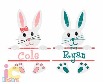 Easter svg, Bunny Boy Girl Monogram Frame Svg Circle Monogram Easter SVG DXF Eps digital download Silhouette Cricut