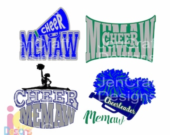 Cheer svg Memaw, Cheerleader,Memaw Cut file for Cricut, Silhouette, SCAL, SVG, EPS, Dxf, Studio3, Png Vector, Digital Instant download