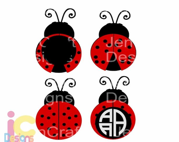Ladybug SVG, Lady Bug Monogram SVG, Summer Mothers day beetle svg, cut files, svg, dxf, ai, eps, png Instant download, love bug