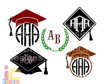 Graduation SVG, Graduation Cap SVG, Senior Grad Cap Cut Files, svg, dxf, ai, eps, png, jpg Graduation monogram frame, Graduation Hat Clipart