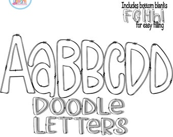Doodle Letters SVG Alphabet Letters Transparent Alpha Pack Svg, Eps, DXF, PNG Hand Drawn Customizable Cut file Sublimation Design Printable