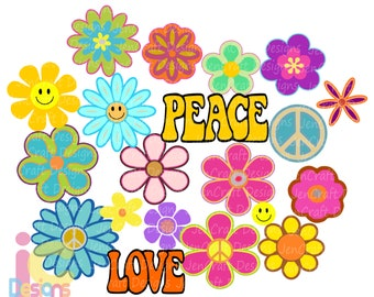 Hippie Svg, Groovy Flowers svg, 60s-70s Retro Peace Love Flower child theme Bundle set digital design svg, eps, dxf sublimation png clipart