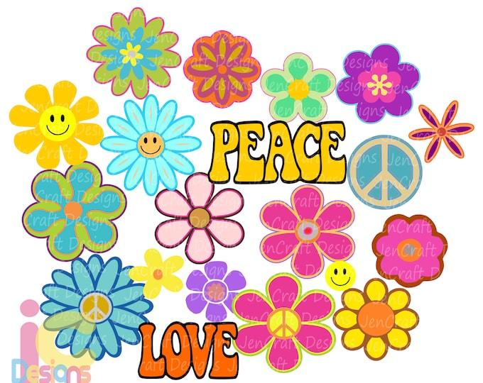 Hippie Svg, Groovy Flowers svg, 60s-70s Retro Peace Love Flower child theme Bundle set digital design svg, eps, dxf sublimation png clipart