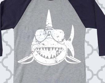 Distressed Shark, sunglasses, svg, Grunge shark svg, boy shark, summer svg, beach svg, Cricut, Silhouette, boy, shark sunglasses, beach, dxf