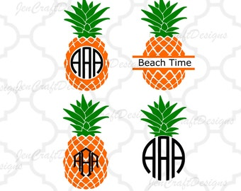 Pineapple SVG, Eps, DXF Cut File Split Frame Pineapple Round Monogram Tropical Hawaiian Summer Monogram Cricut Silhouette, Die Cut Machines