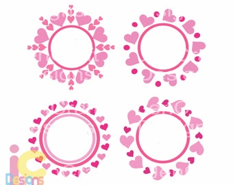 Valentine svg Heart Monogram Frame SVG Valentines Day Love Heart valentine svg Scan N Cut Wedding Svg Eps Dxf Png