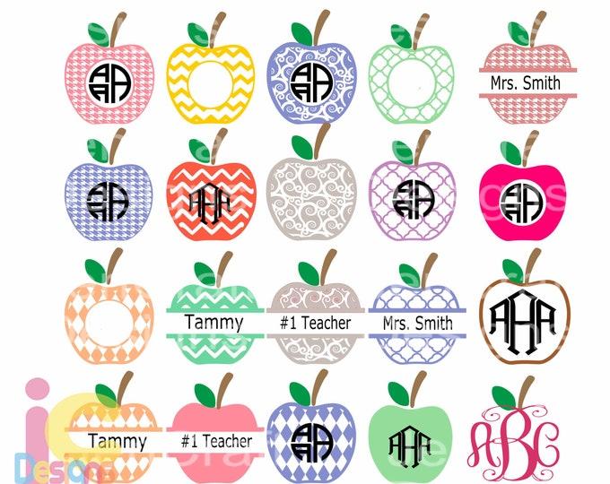 School Apple SVG Frames, Teacher Svg Graduation monogram frame Class appreciation designs for cricut Bundle Cut Files svg dxf ai eps png jpg