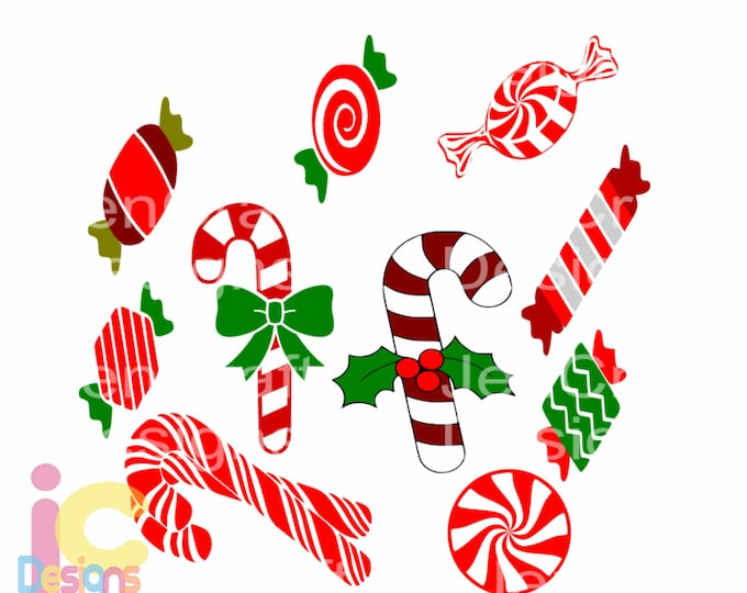 Christmas Candy SVG,EPS Png DXF,digital download files for Silhouette Cricut, vector Clip Art graphics Vinyl Cutting Machines