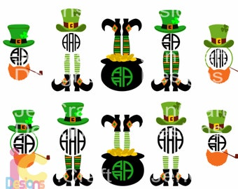 St Patricks day svg, shamrock svg, Leprechaun Legs SVG Monogram Kids Shirt Design St Paddy's Day, Saint Patricks Monogram Design svg dxf png