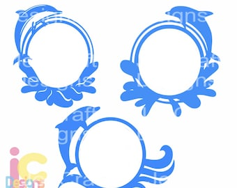 Dolphin SVG Summer Ocean Waves Wave Beach Monogram Frame SVG Eps Dxf PngVinyl Cutters, Silhouette, Die Cut Machine digital design