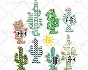 Cactus svg Monogram Desert Cacti frame, Western, Aztec, monogram cut file, SVG, Eps, Dxf, Png Cut File Clipart Cricut Explorer, Silhouette