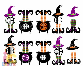 Halloween svg Witch Svg Design Witch Legs in Cauldron Monogram Frame Digital Clipart and Cut File Png SVG EPS DXF Instant Download