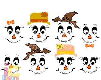 Scarecrow svg, Scarecrow face SVG lady and man face SVG Boy Girl Thanksgiving Svg Fall Autumn Halloween Svg digital cut file DXF, Eps, Png