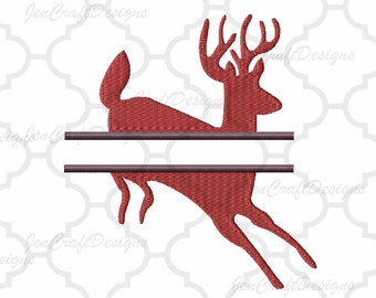 Deer Split Monogram Embroidery split Frame, Machine Embroidery Design Fall Instant Download digital file in PES, EXP, VIP, Hus, Xxx and Jef
