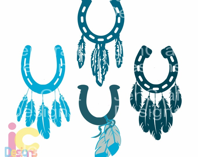 Horseshoe svg Feathers Monogram Frame SVG, Dxf, Eps , Png Cowboy, Cowgirl, Country Boho Instant Download cut files Silhouette Cricut