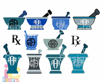 RX Pharmacy svg Mortar And Pestle Doctor Nurse RN svg Monogram Frame SVG Eps Png Dxf, cut file Cricut, Silhouette Digital Cut Files