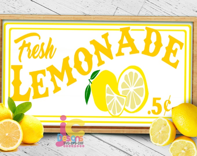 fresh Lemonade SVG,  Lemon Svg, lemonade stand sign art Cut file Sublimation Print Summer svg Cricut Silhouette SVG Eps Dxf Png