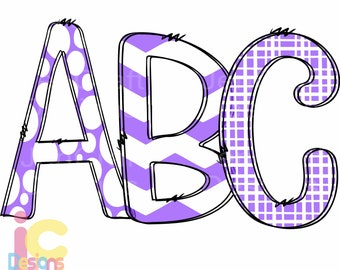Purple Doodle Letters Alphabet png, Hand Drawn Alpha Pack Digital Download, Printable School Spirit Kids Cute individual letters Bundle 12""