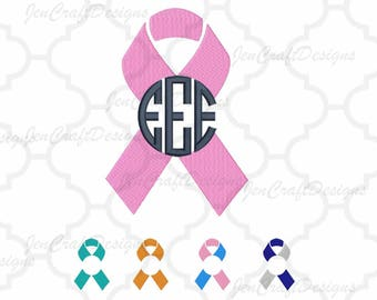 Awareness Ribbon Monogram Frame Embroidery INSTANT DOWNLOAD digital file in Exp, Hus, Jef, Pes, Vip and Xxx